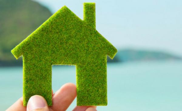 πράσινο σπίτι στο χέρι