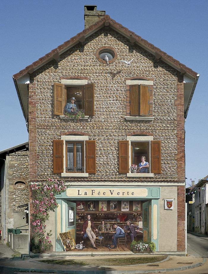 τοιχογραφία μαγαζί και παράθυρα