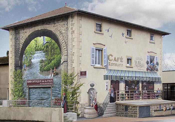 τοιχογραφία καφέ του υδραγωγείου