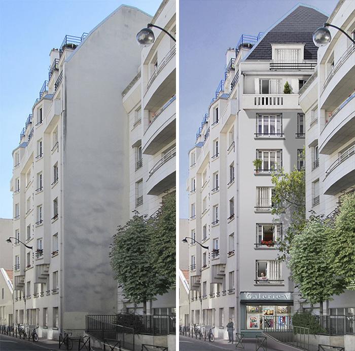 ζωγραφιστά μπαλκόνια σε πλάι κτιρίου