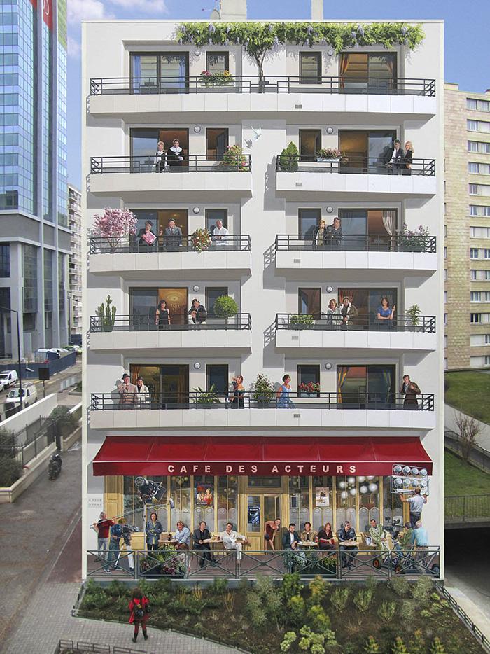 τοιχογραφία πολυκατοικία με καφέ